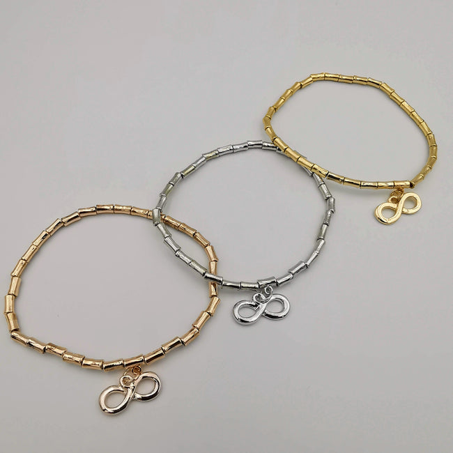 3 Elastic Bracelet Charm Set - 4 Designs - Silver + Gold + Rose Gold [Handmade[ - Offer Hunts