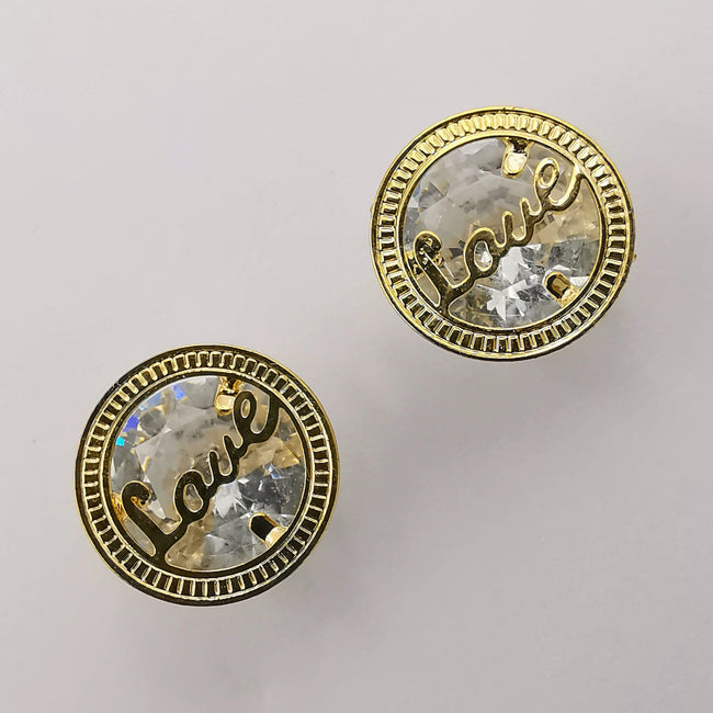 Round Love Earrings with Crystals - Golden and Silver - Offer Hunts