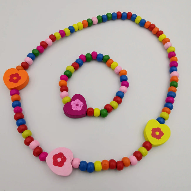 Wooden Beads Necklace and Bracelet Set for Kids - Handmade - Multiple Colors - Offer Hunts
