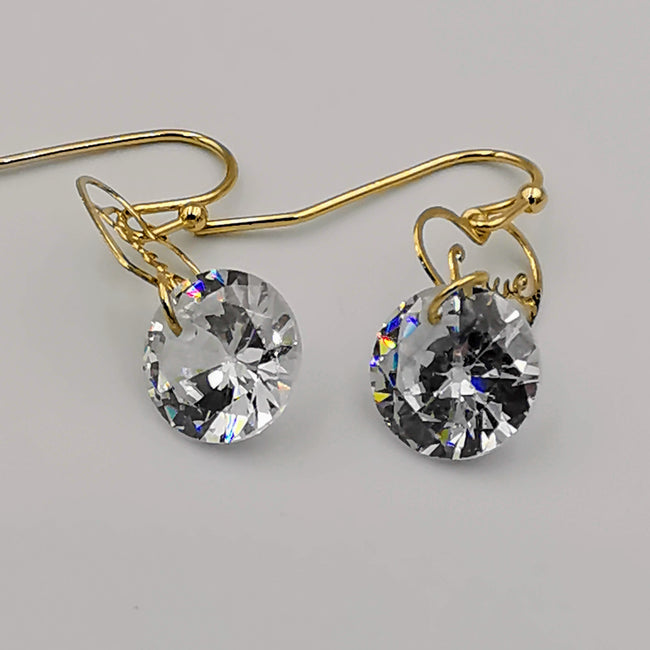 Heart with Simulated Diamond Golden Earring - Offer Hunts