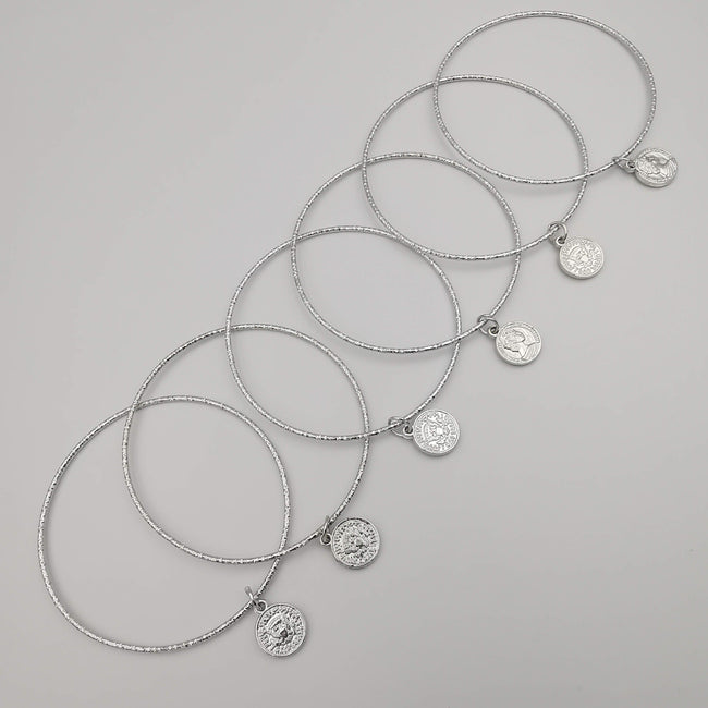 5 Piece Coin Bracelet Set - Golden and Silver - Size 65mm - Offer Hunts