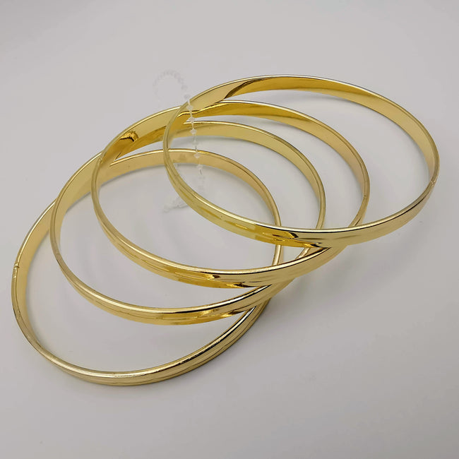 Notched Round Bracelet Set - 4 Pieces - Golden and Silver - Size 65mm - Offer Hunts