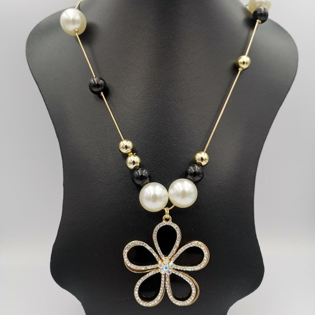 Floral Pearl Bead Necklace - Golden and Silver - Offer Hunts