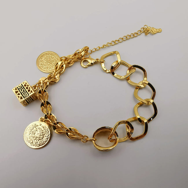24K Gold Plated Coin Cube Chain Bracelet - Offer Hunts