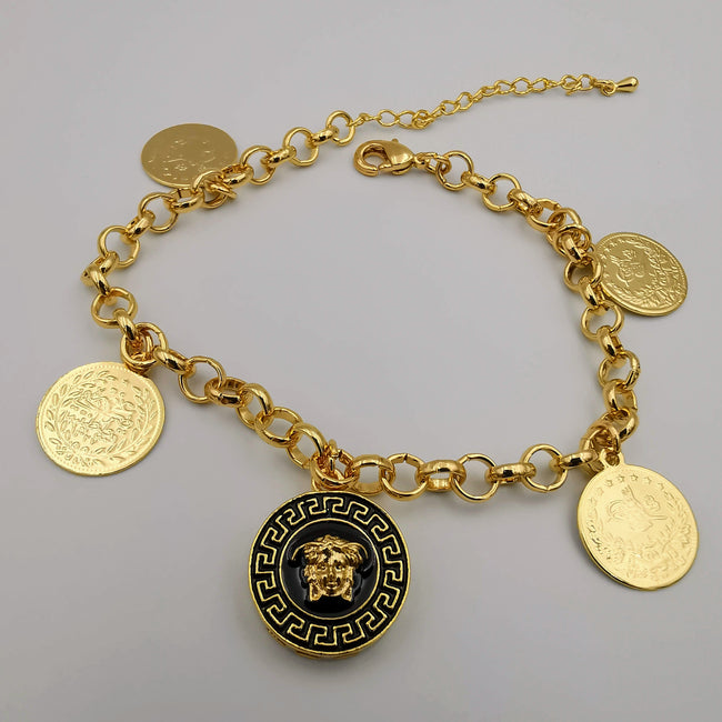 24K Gold Plated 4-Coin Versac.e Bracelet - Offer Hunts