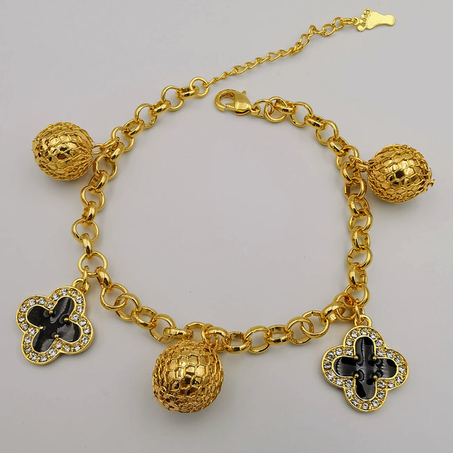 24K Gold Plated Crystal Van Cl.eef Ball Bracelet - Offer Hunts