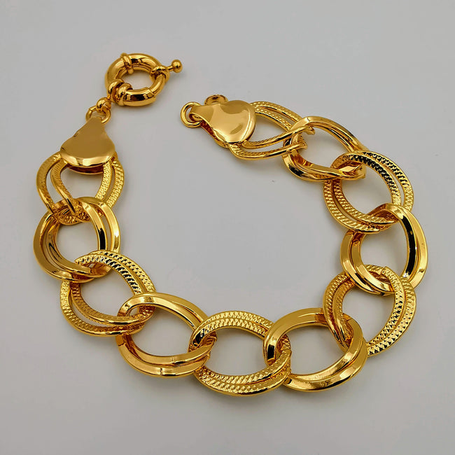 24K Gold Plated Lobster Chain Bracelet - Offer Hunts
