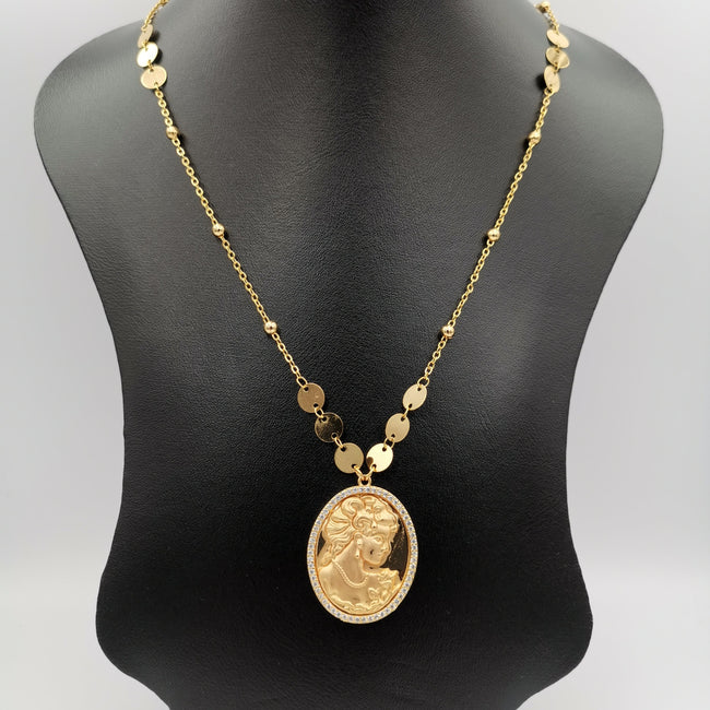 24K Gold Plated Camay Round Necklace - Offer Hunts