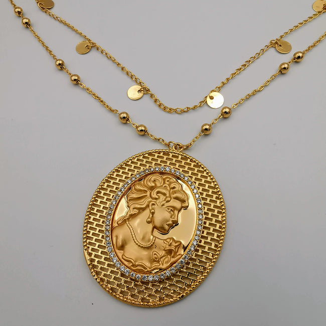 24K Gold Plated Camay 2 Layer Necklace - Offer Hunts