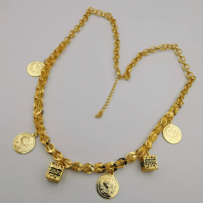 24K Gold Plated Coin Cube Chain Necklace - Offer Hunts