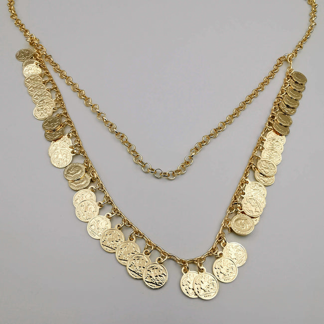 18K Gold Plated Mini Coin 2 Layer Necklace - Offer Hunts