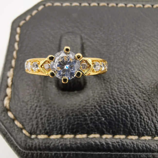Bedazled Twins Ring - 24K Gold Plate - Offer Hunts