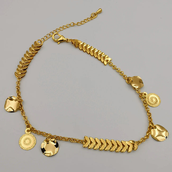 24K Gold Plated Danglers Round Shield Anklet - Offer Hunts
