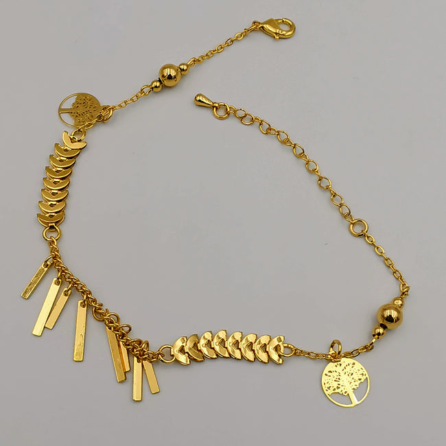 24K Gold Plated Danglers Tree of Life Anklet - Offer Hunts