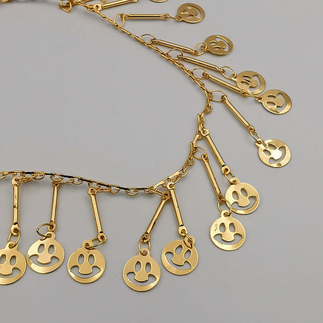 24K Gold Plated Smiley Dangler Anklet - Offer Hunts