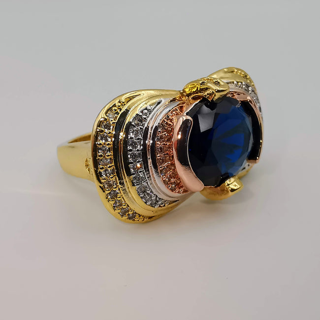 Royal Tri-Color Gem Ring - 24K Gold Plate - Offer Hunts