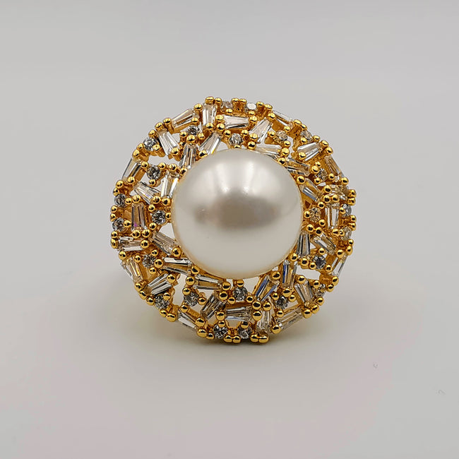 Round Pearl Ring - 24K Gold Plate - Offer Hunts