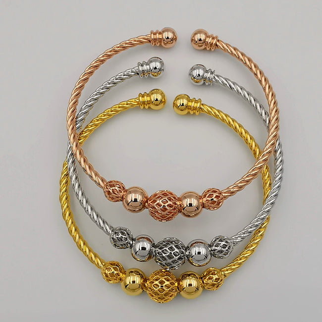 24K Gold Plated Bracelet Set [3-Pieces] - Adjustable Size - Style 1 - Offer Hunts