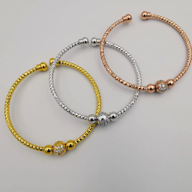 24K Gold Plated Bracelet Set [3-Pieces] - Adjustable Size - Style 2 - Offer Hunts