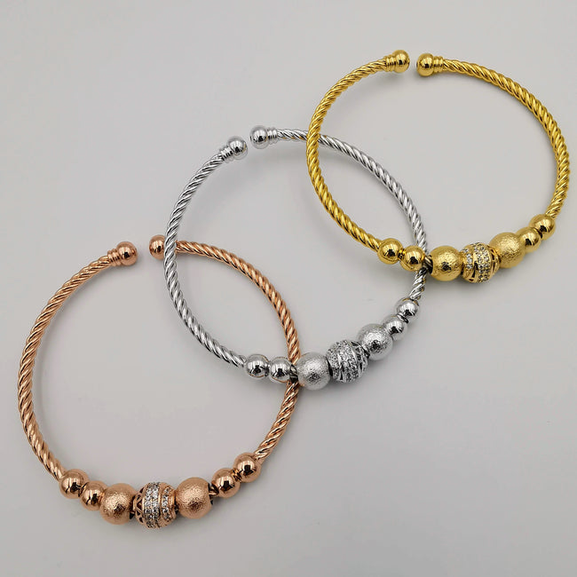 24K Gold Plated Bracelet Set [3-Pieces] - Adjustable Size - Style 3 - Offer Hunts