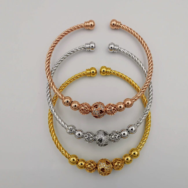 24K Gold Plated Bracelet Set [3-Pieces] - Adjustable Size - Style 4 - Offer Hunts