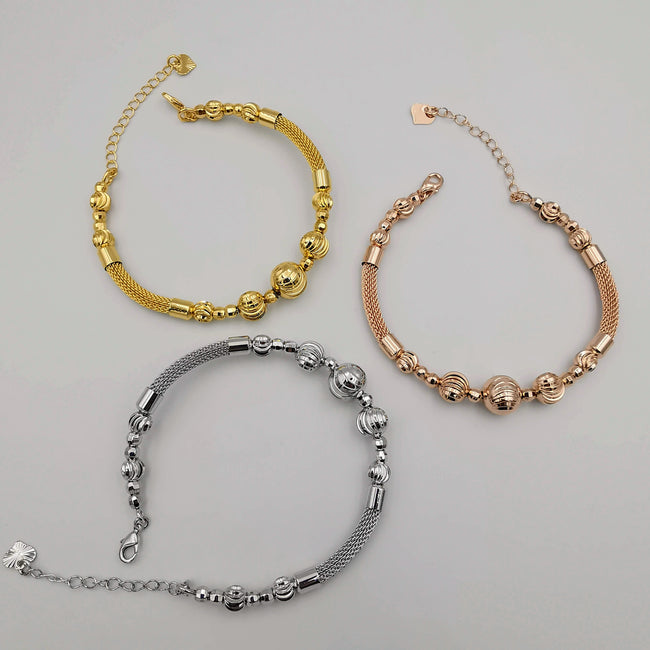 24K Gold Plated Bracelet Set [3-Pieces] - Adjustable Size - Style 5 - Offer Hunts