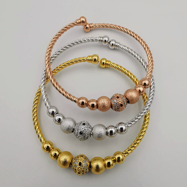 24K Gold Plated Bracelet Set [3-Pieces] - Adjustable Size - Style 6 - Offer Hunts