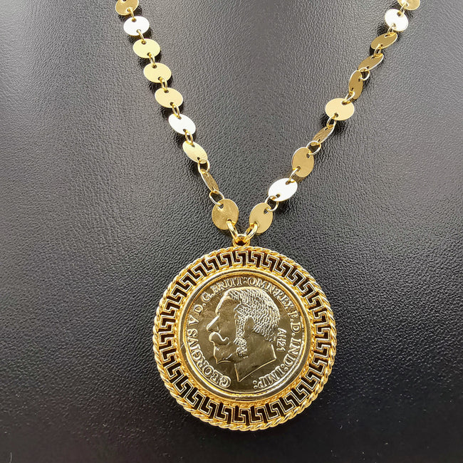 18K Gold Plated Elegant Round Coin Necklace - Offer Hunts