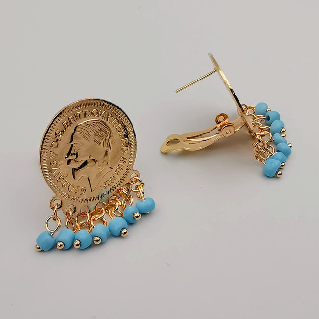 24K Gold Plated Slim Coin Turquoise Stones Earrings - Offer Hunts