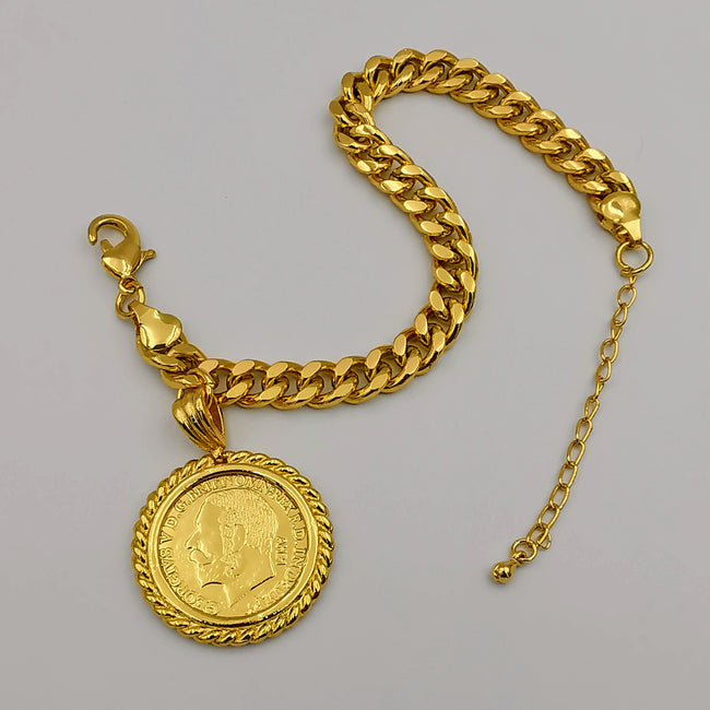24K Gold Plated Coin Bracelet - Style 3 - Offer Hunts