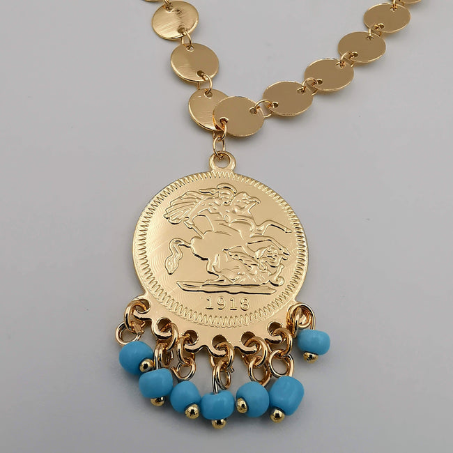 24K Gold Plated Coin Turquoise Beads Necklace - Offer Hunts