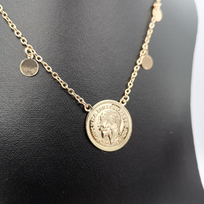 24K Gold Plated Simple Coin Necklace - Offer Hunts