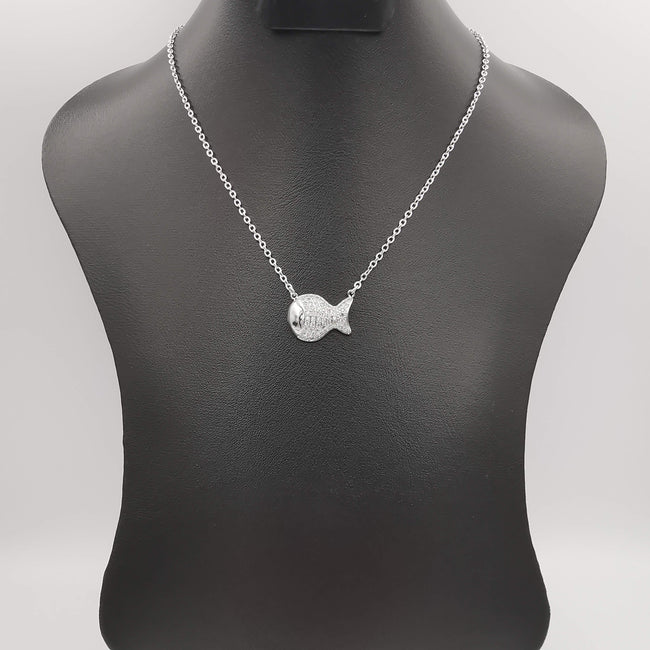 18K White Gold Plated Lucky Fish Necklace - Offer Hunts