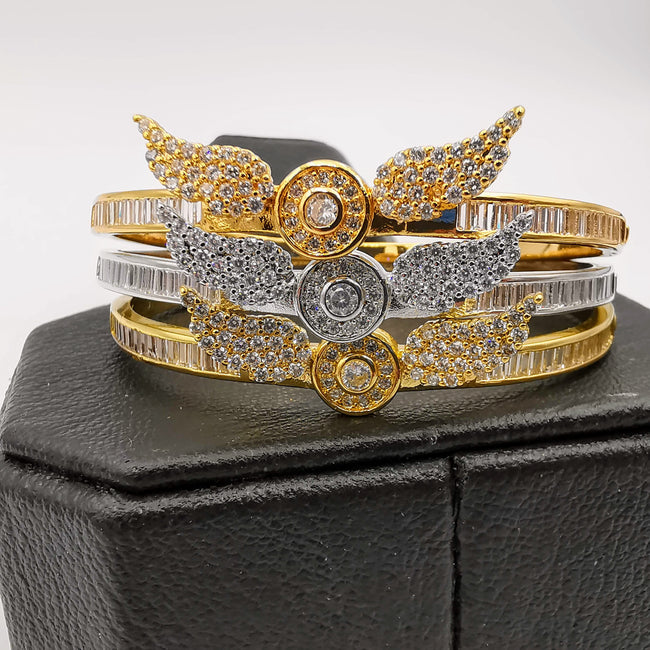 24K Gold Plated Stainless Steel Wings Bracelet Set [3 Pieces] - Adjustable Clasp Lock - Offer Hunts