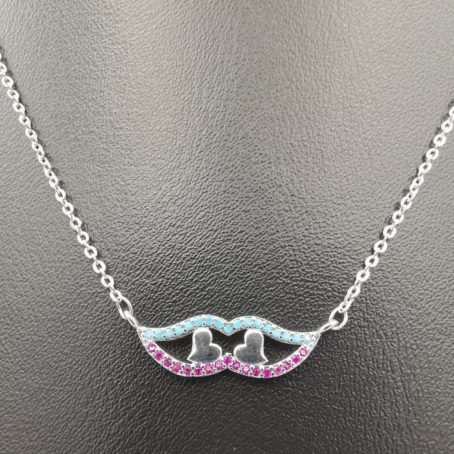18K White Gold Plated Eyed Hearts Necklace - Offer Hunts
