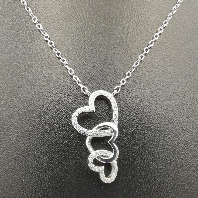 18K White Gold Plated Triple Hearts Necklace - Offer Hunts