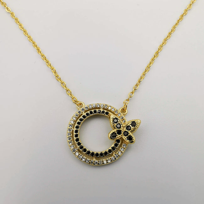 18K Yellow Gold Plated Round Butterfly Necklace - Offer Hunts