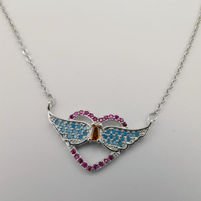 18K White Gold Plated Heart Wings Necklace - Offer Hunts