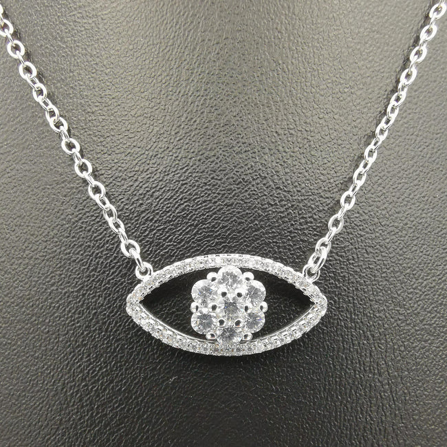 18K White Gold Plated Crystal Eyes Necklace - Offer Hunts