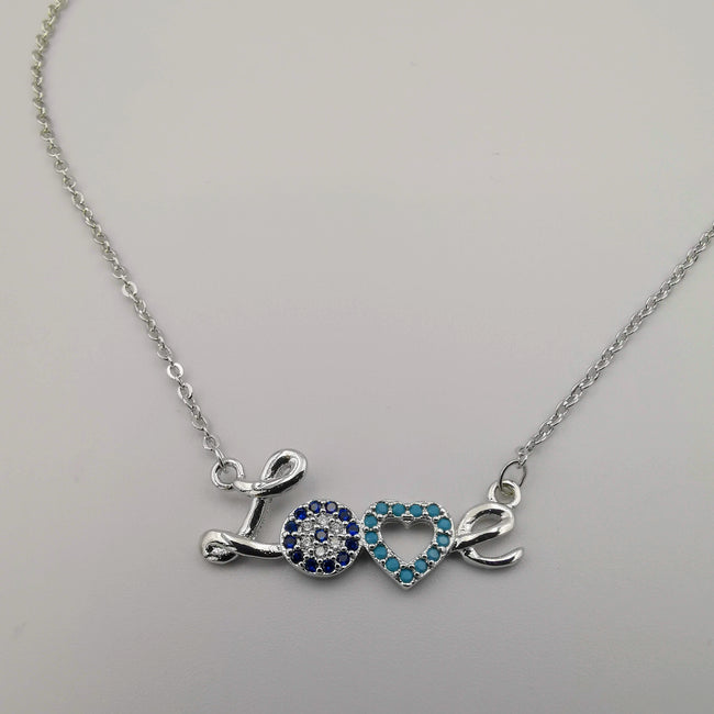 18K White Gold Plated Love Necklace - Offer Hunts