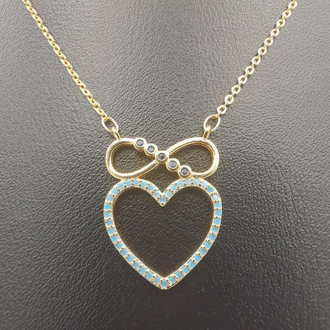 18K Yellow Gold Plated Infinity Heart Necklace - Offer Hunts