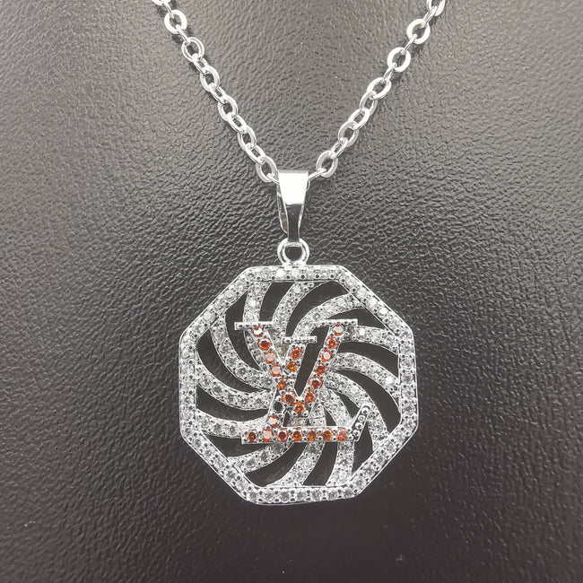 18K White Gold Plated LV Necklace - Offer Hunts