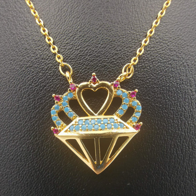 18K Yellow Gold Plated Gem Heart Necklace - Offer Hunts