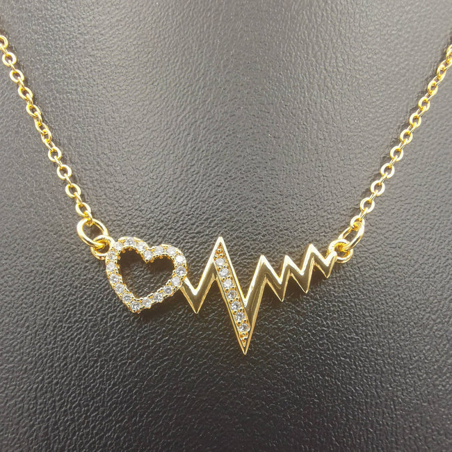 18K Yellow Gold Plated Electro Heart Necklace - Offer Hunts