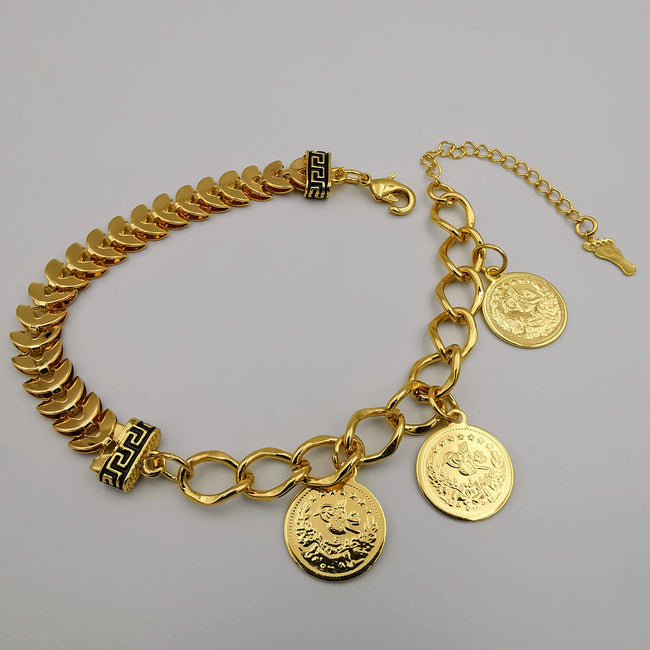 24K Gold Plated C Chain Tri Coin Bracelet - Offer Hunts