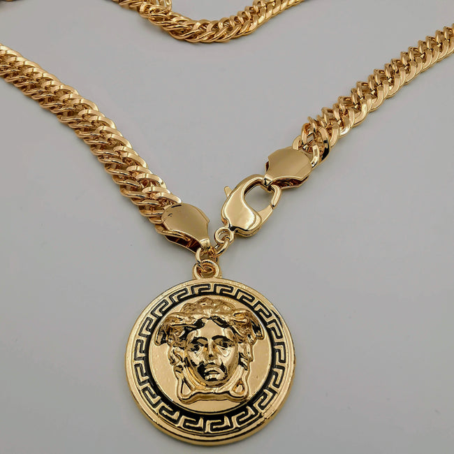 18K Rose Gold Plated 3D Vers.ace Chain Necklace - Offer Hunts