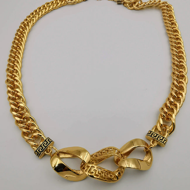 24K Gold Plated Interconnected Chain Necklace - Offer Hunts