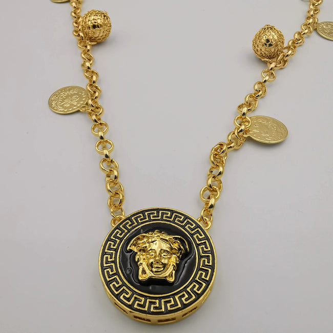 24K Gold Plated Versac.e Coin Ball Chain Necklace