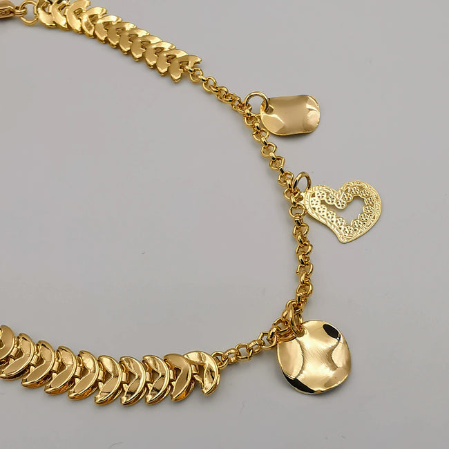 24K Gold Plated Coin Heart Anklet