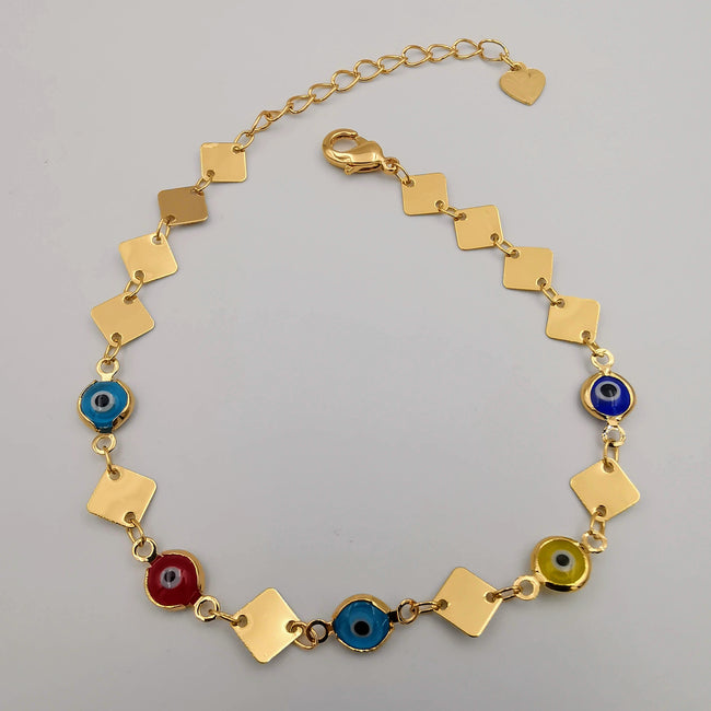 21K Gold Plated Colorful Rhombus Anklet